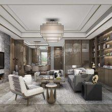 鲁能泰山七号叠拼别墅装修案例-新中式风格设计方案效果图