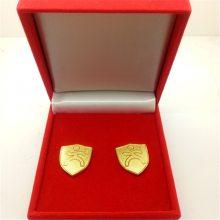 金属镀金沙底徽章定制 磨砂金色胸章 深圳厂家订做制作生产