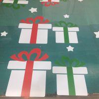 深圳l圣诞节超透彩白彩UV打印工厂 橱窗超透明图案定制彩白彩制作 汇美喷绘