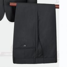 LHY5009贵州定做西服黑色条纹50%羊毛哔叽面料平驳领单排两扣商务男西服