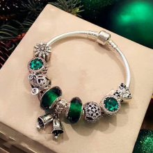 绿色成品手链 纯银925铃铛猫眼石手镯南瓜车雪花珠子串珠配件散珠