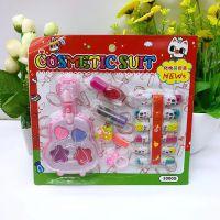 韩版女孩彩妆玩具眼影指甲油唇膏假指甲贴化妆套装安全***小饰品