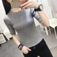 夏季新款曲珠T恤韩版时尚宽松圆领条纹短袖套头上衣纯棉针织女装