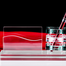 广州供应水晶笔筒 水晶三件套-环典