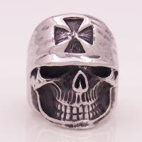 不锈钢钛钢带帽骷髅头戒指欧美夸张街舞首饰可订纯银饰品加工厂家