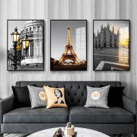 客厅装饰画北欧现代简约沙发背景墙黑白风景三联挂画餐厅酒店壁画