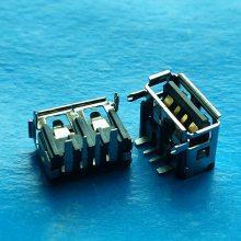 大电流短体10.0 USB 2.0母座卷边 卧式90度插板DIP 黑胶 全两脚鱼叉脚