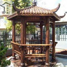 设计制作仿古四角亭 景观木制六角亭 花园景观木亭子