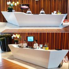 泰佳成厂家直销玻璃钢异形展台酒店商场前台收银台展示台来图定制