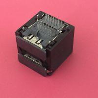 双层HDMI母座/高清视音频电视机机顶盒插座/板上型四脚插板DIP/带定位柱