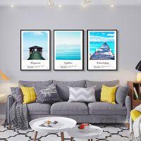 北欧风景现代简约客厅卧室装饰画三联有框挂画大气沙发背景墙壁画
