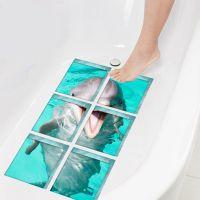 Funlife新款仿3D立体墙贴浴缸贴防滑垫防水PVC安全贴海豚Baths006