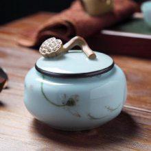 创意红茶绿茶圆形茶叶罐 中式密封罐小号三宝茶茶叶礼盒包装盒