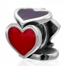 欧美热销新品红桃心形扑克牌串珠925纯银散珠DIY饰品配件手链穿搭