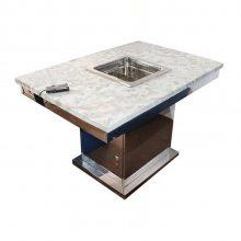 大理石蒸汽火锅桌,烤涮一体火锅桌定做,火锅店桌椅供应商