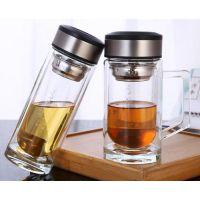 合肥加厚双层玻璃杯 带刻度家用水杯 男女士便携杯子耐热泡茶杯可定制