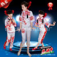 剪纸姑娘舞蹈服成人双面人舞台装儿童短款两面穿民族舞蹈服演出服