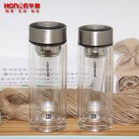 匡迪159号玻璃杯 水晶双层隔热水杯玻璃水杯 带礼盒滤网茶杯定制