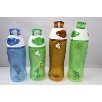 情侣磨砂运动水壶 时尚PC太空杯 水滴图案提手塑料杯