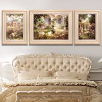 客厅装饰画简欧三联画餐厅油画大气沙发背景墙面欧式美式壁画挂画