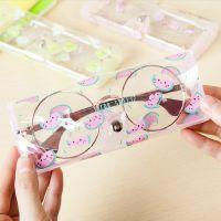 韩版小清新pvc眼镜盒 卡通可爱女生透明可视眼镜盒收纳袋厂家直销