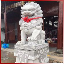 大门口石狮子公母摆放图片 精品石狮子雕塑 九龙星供应