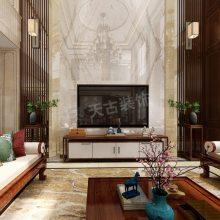 金科太阳海岸联排端户装修效果图,江北新中式风格别墅装修在建工地