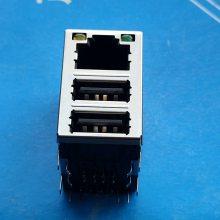 双层A母2.0+RJ45网口 卧式插板90度 带LED灯 8P8c 黑色胶芯
