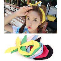 日韩糖果色兔耳朵发带韩国 头饰 甜美 森女系铁丝发箍纯色头箍女