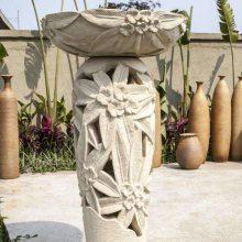 加工深圳天然石材花钵 生肖动物造型白麻石花钵园林石盆定制