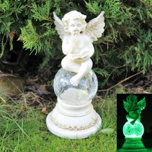 正九生活欧式创意用品礼品 树脂太阳能LED灯看书天使坐裂纹玻璃球 田园风格花园工艺品家居生活摆件