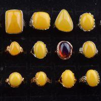 铜镀白金镶嵌二代荧光浮水琥珀蜜蜡活口戒指指环厂家直销