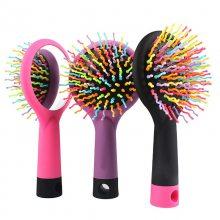厂家直销新品创意彩虹梳带镜子 定制气囊卷发按摩梳 批发美发工具 彩虹镜梳