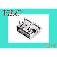 USB厂家直销-A母90度-USB短体沉板母座/端子SMT贴片 卷边 铁壳
