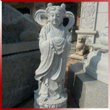 石雕龙女拜观音 观音善财童子像 大型观音佛像石雕厂