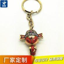 中国风挂件合金立体镶钻钥匙扣 情侣钥匙链 高档滴油包包扣