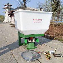 自产自销电动型半自动撒肥机 240斤容量施肥机 拖拉机前置颗粒甩肥机