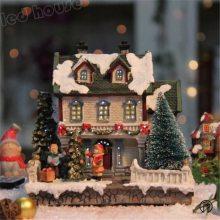 外贸欧式创意品 圣诞屋树脂灯房雪景光纤LED小夜灯 圣诞节装饰工艺品家居摆件