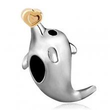 diy饰品配件合金镀双金爱心海豚大孔珠摇摆珠手链串珠散珠eba