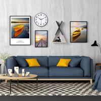 现代简约北欧风格客厅创意带钟表组合装饰画沙发背景墙壁画挂画