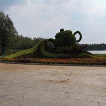 成都大型仿真立体景观节日主题雕塑厂家 假植物绢花绿雕造型