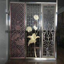郑州酒店室内装饰 酒店会议厅装饰青古铜不锈钢屏风 拉丝屏风隔断