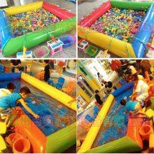 河南南阳公园摆摊充气钓鱼池,儿童沙池玩具池加厚组合爱不释手