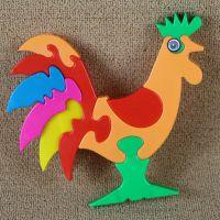 幼儿童益智动物大公鸡儿童形状认知积木拼图地摊热卖批发
