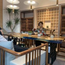 环氧树脂实木胡桃木原生态办公桌办公台设计师桌