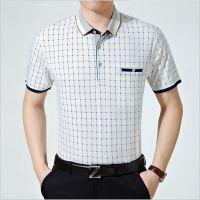 厂家特惠夏季热销中老年男装牛奶丝冰丝时尚翻领POLO短袖T恤批发