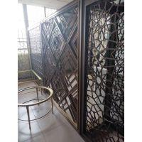 黑钛金不锈钢屏风 定制星级酒店会所大堂景观不锈钢中式花格隔断