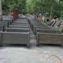 绿化带专用水泥仿木花箱多少钱一套 仿木水泥花桶