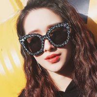 新款欧美女士星星点缀猫眼太阳镜时尚潮流墨镜透明海洋色太阳眼镜