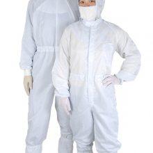 深圳工作服 防静电连体服配斜拉链白色无尘车间实验室专用静电服